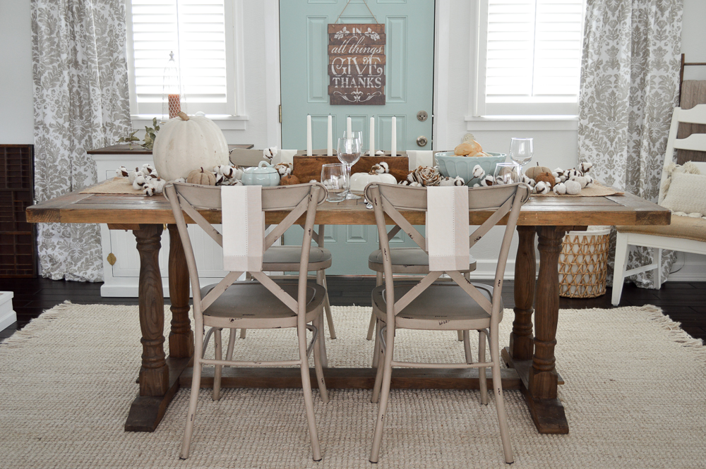 Thanksgiving Holiday Table Cottage Farmhouse Style - Easy Casual Farm Table Tablescape - Small House Living at www.foxhollowcottage.com