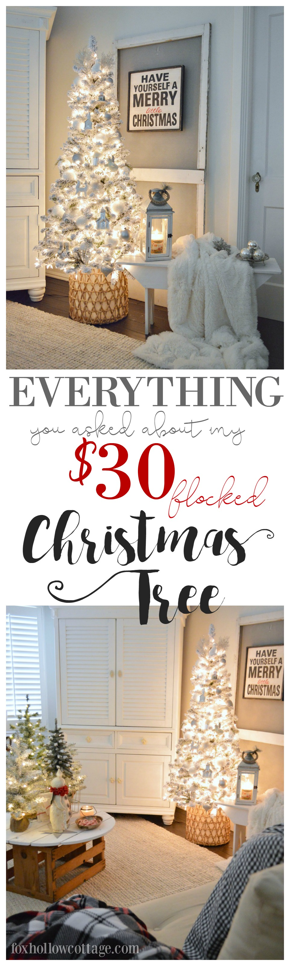 My $30 flocked Christmas tree - Where I got it, the lights I used, my basket size, tips and everything you've all been asking about - answered. Because holidays decorating can be affordable and still be pretty! For more everyday and seasonal decorating ideas that won't leave you broke, visit foxhollowcottage.com