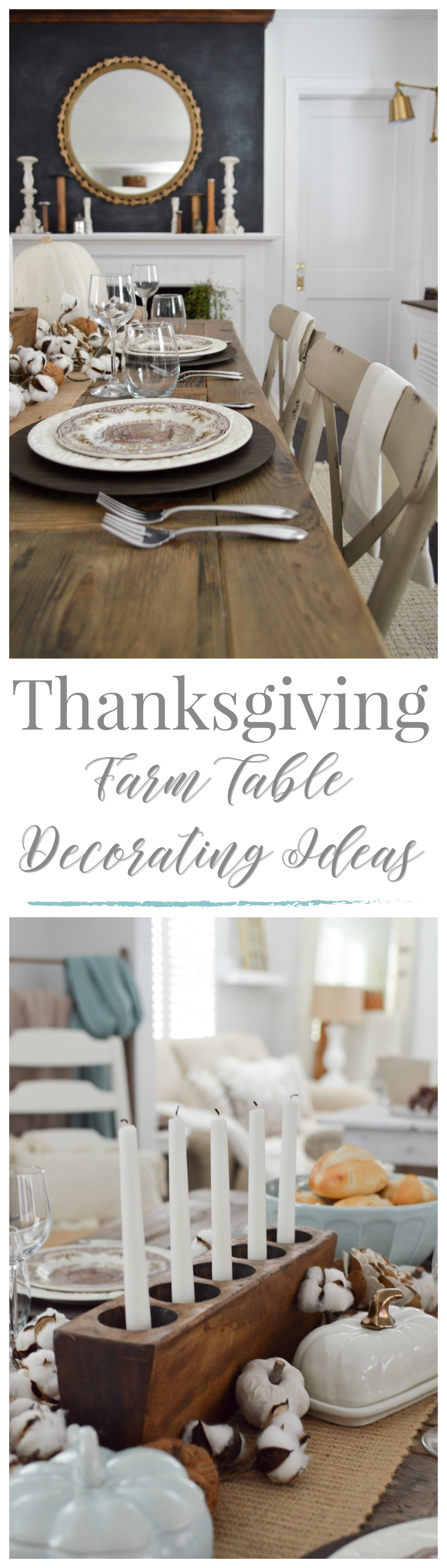 Cottage Farmhouse Thanksgiving Tablescape - Vintage Turkey Farm Table Setting - www.foxhollowcottage.com