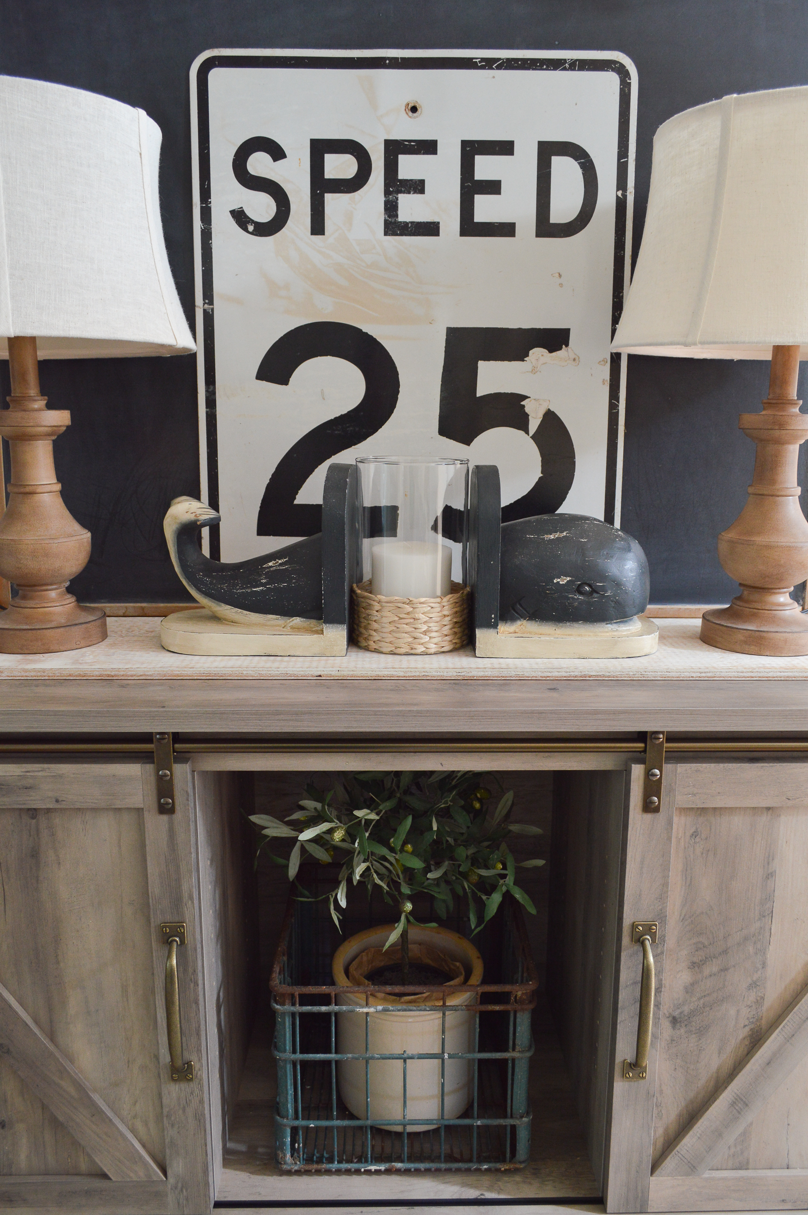 Hidden Storage With Style Cottage Farmhouse Entryway - vintage 25 MPH speed sign