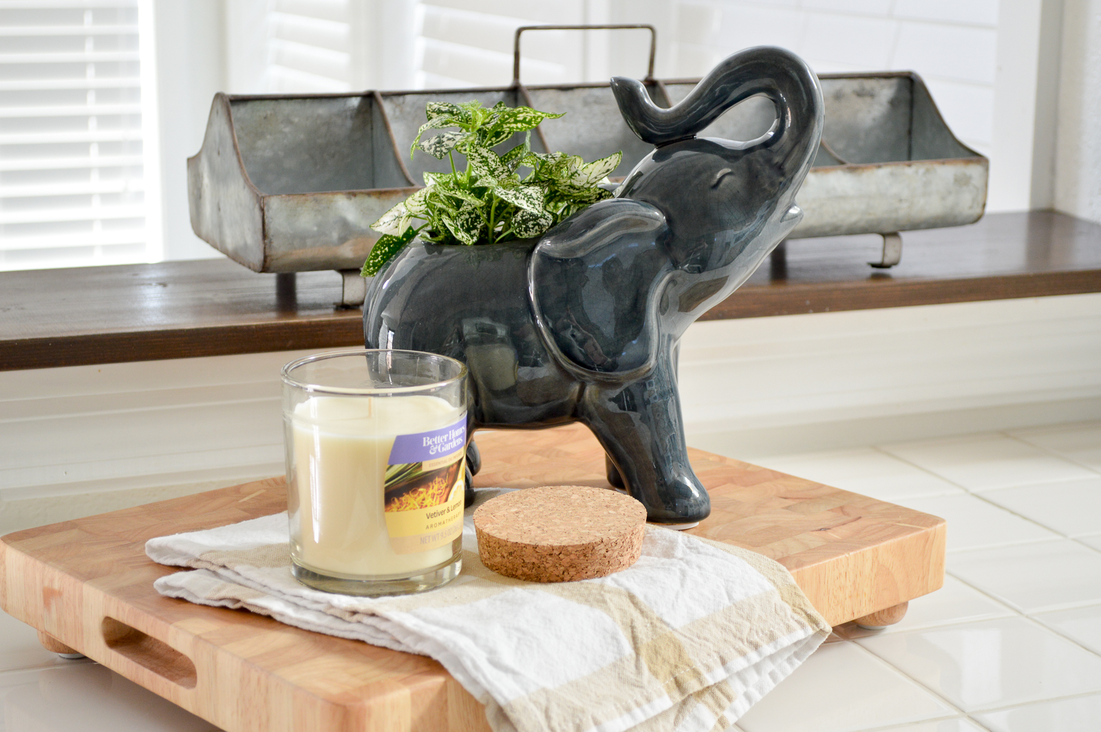 Outdoor In Spring Home Decor and Furniture Ideas #sponsored with Better Homes & Gardens at Walmart | Elephant planter, essential oil candle, galvanized farmhouse trough