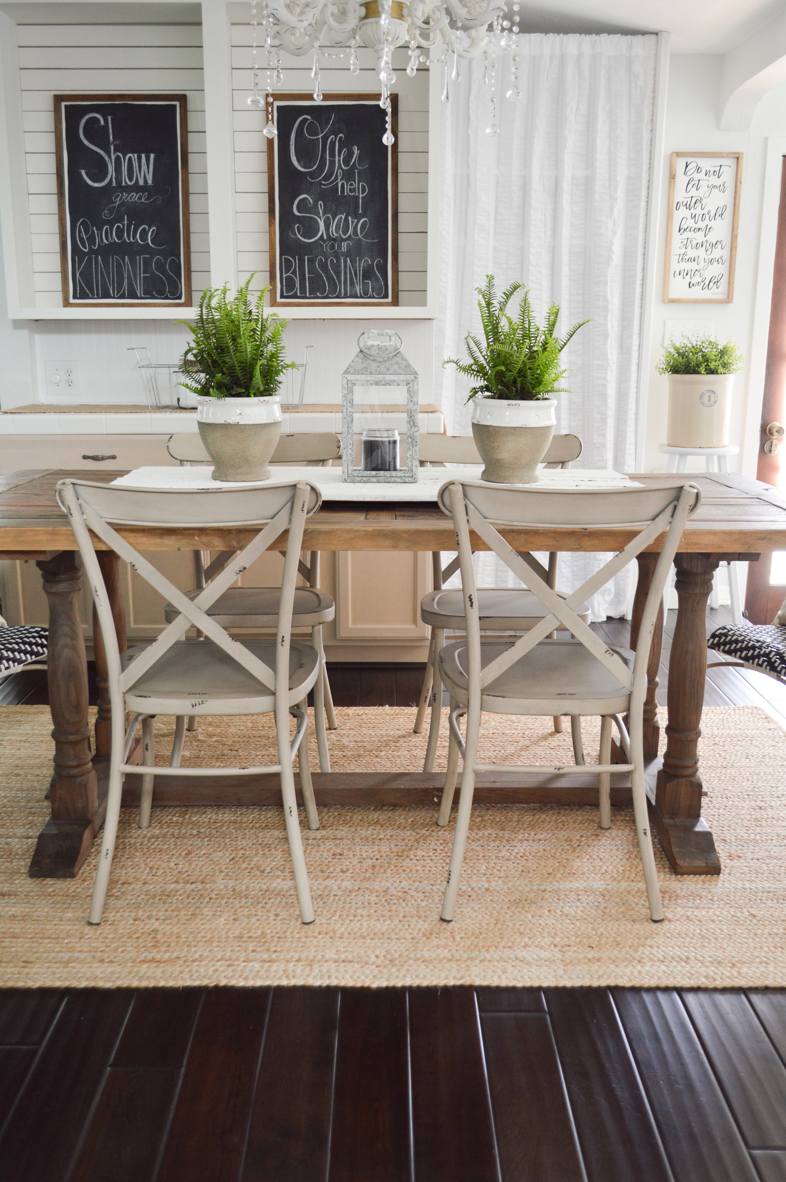 Outdoor In Spring Home Decor and Furniture Ideas #sponsored with Better Homes & Gardens at Walmart | Shiplap, chalkboard, farmhouse farm table, metal dining chairs, house plants