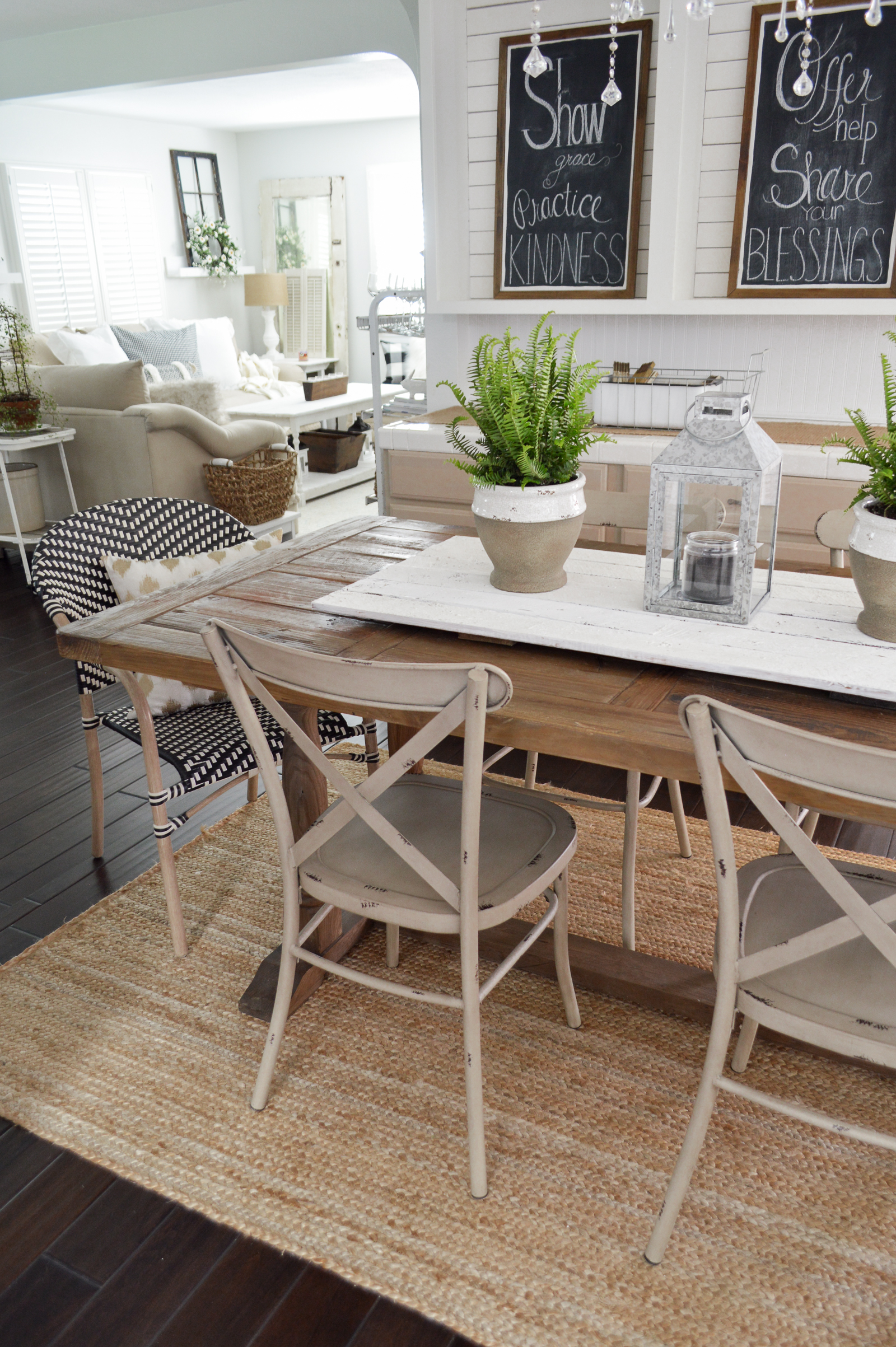 Outdoor In Spring Home Decor and Furniture Ideas #sponsored with Better Homes & Gardens at Walmart | Eclectic farmhouse style boho parisian bistro chairs, farm table, shiplap, wood floors