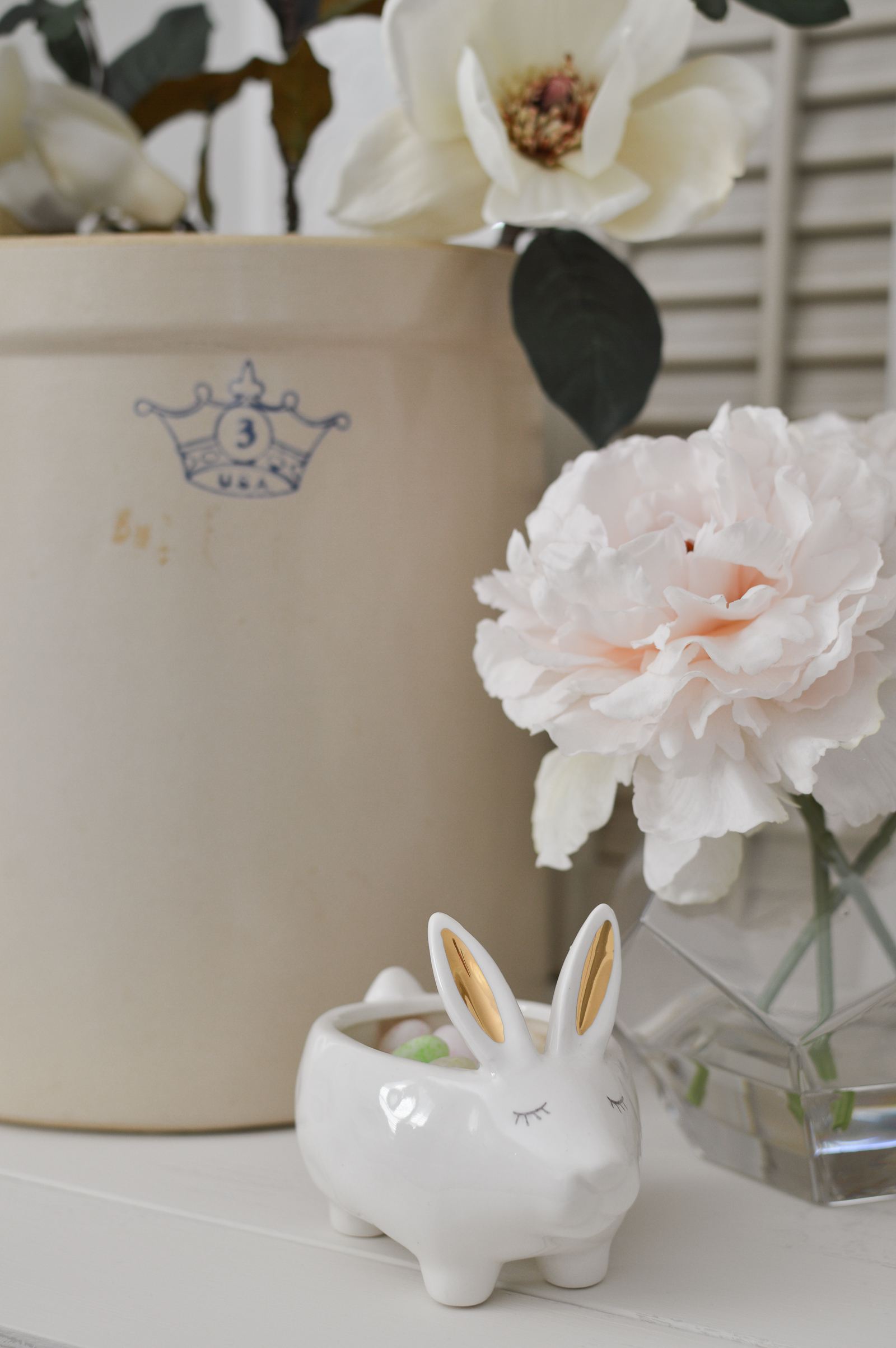 Casual Spring Decorating Cottage Living Room Tour - Ceramic gold ear bunny, blush pink Peonies