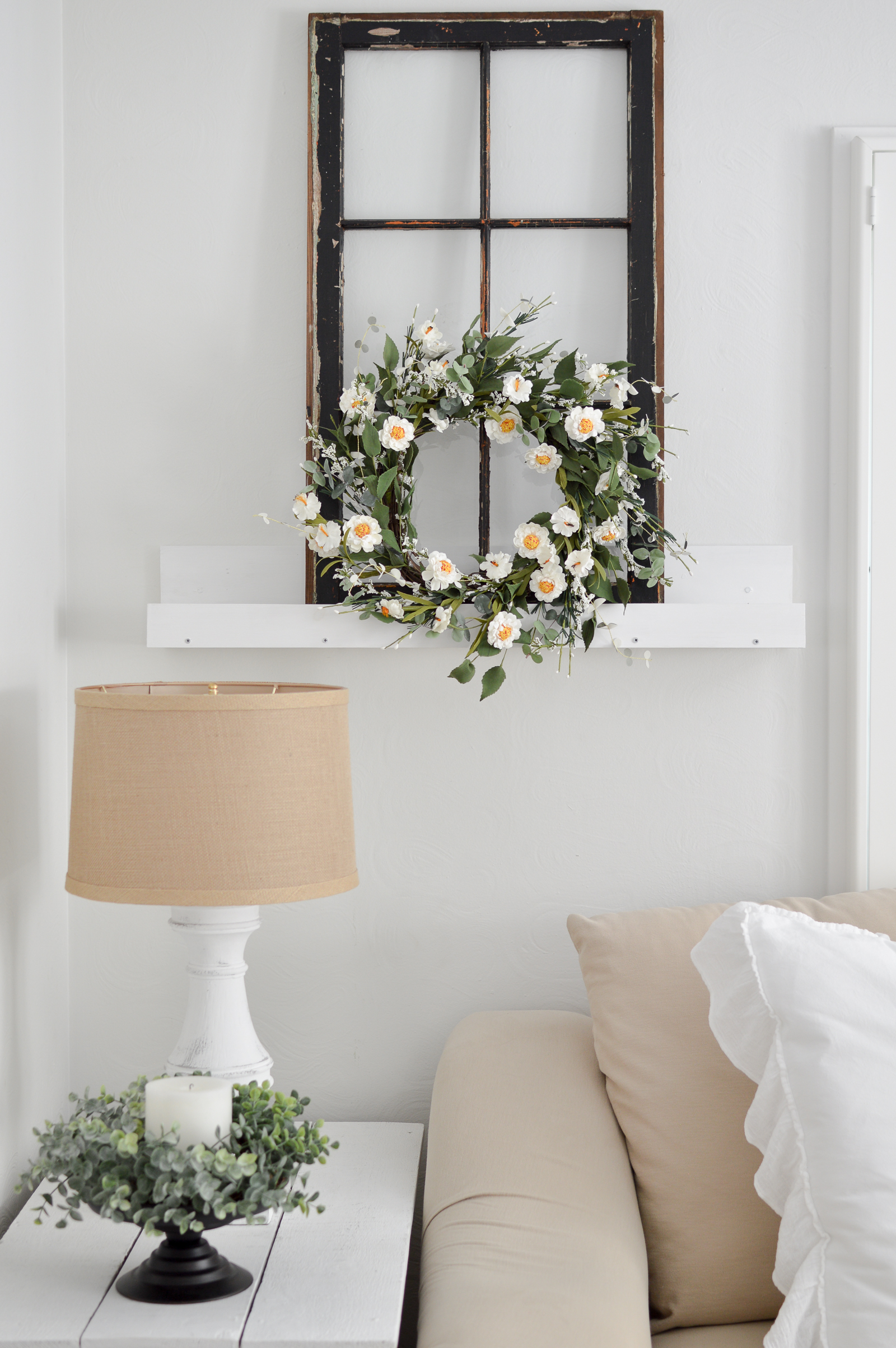 Casual Spring Decorating Cottage Living Room Tour | vintage black window, DIY picture ledge wall shelf, Spring Summer wreath