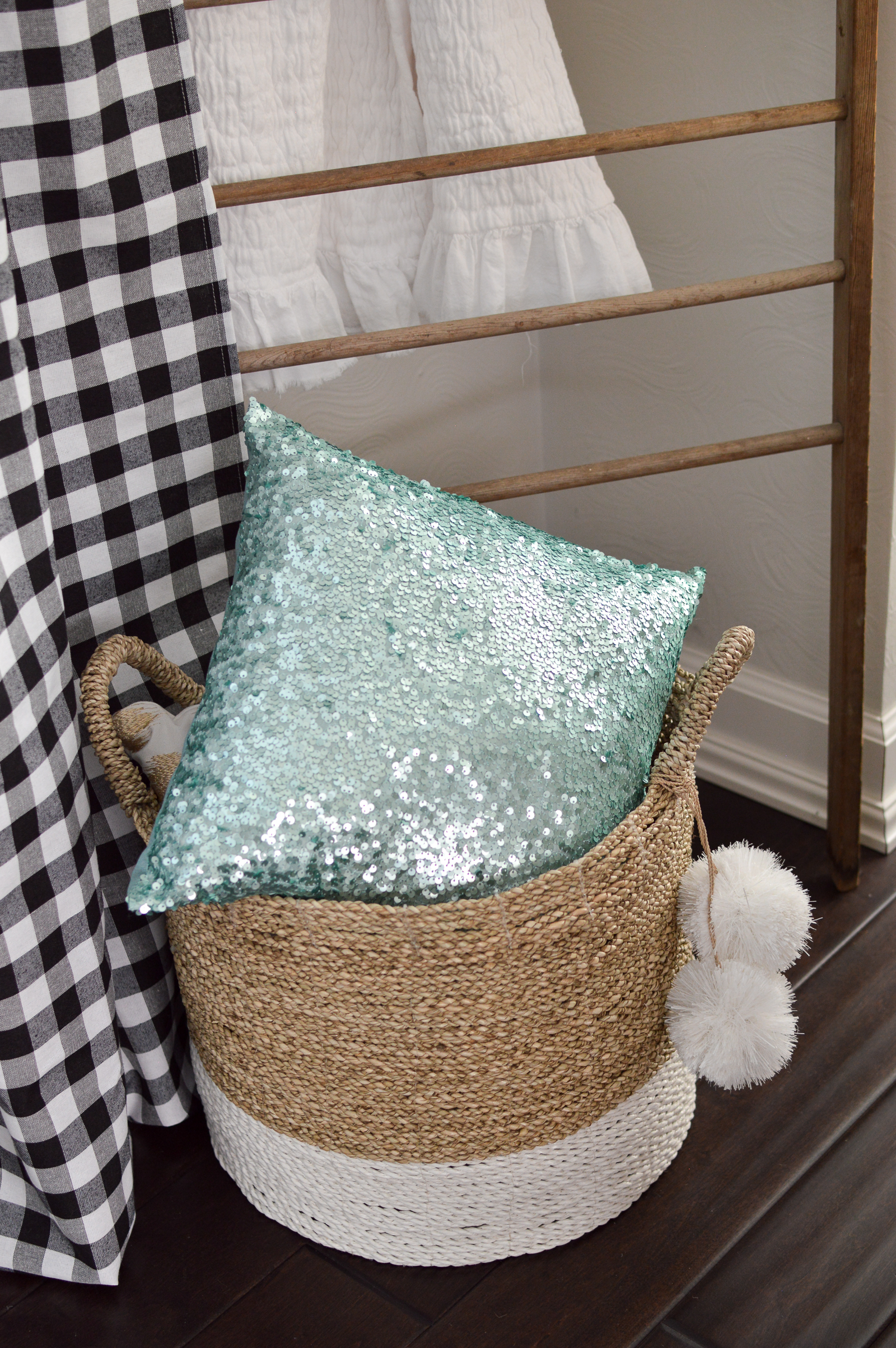 Casual Spring Decorating Cottage Living Room Tour | Dipped chunky handle basket pom pom tassel, sequin pillow