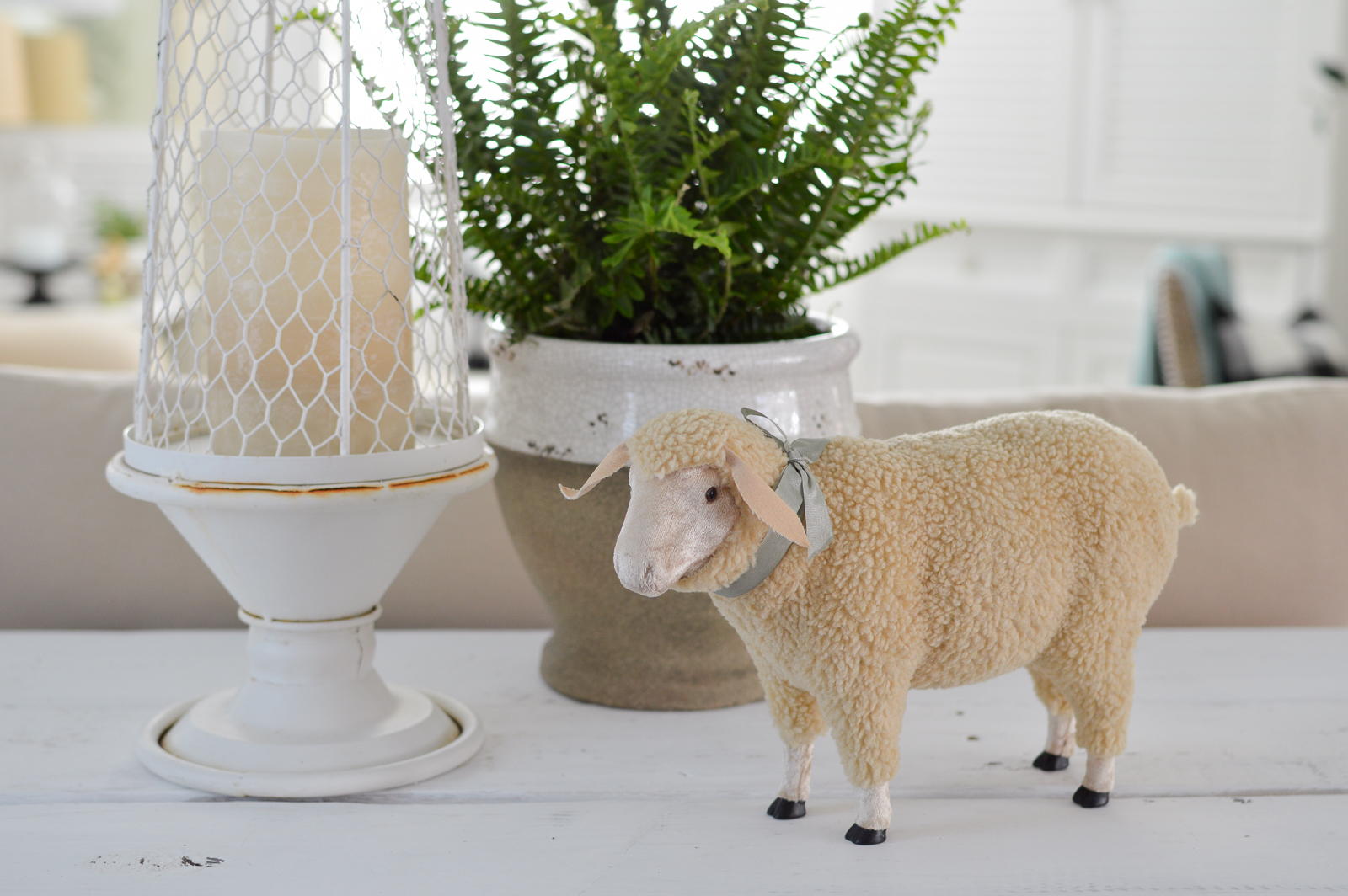 Casual Spring Decorating Cottage Living Room Tour | Fox Hollow Cottage - Ewegenia Mabel the woolly sheep.