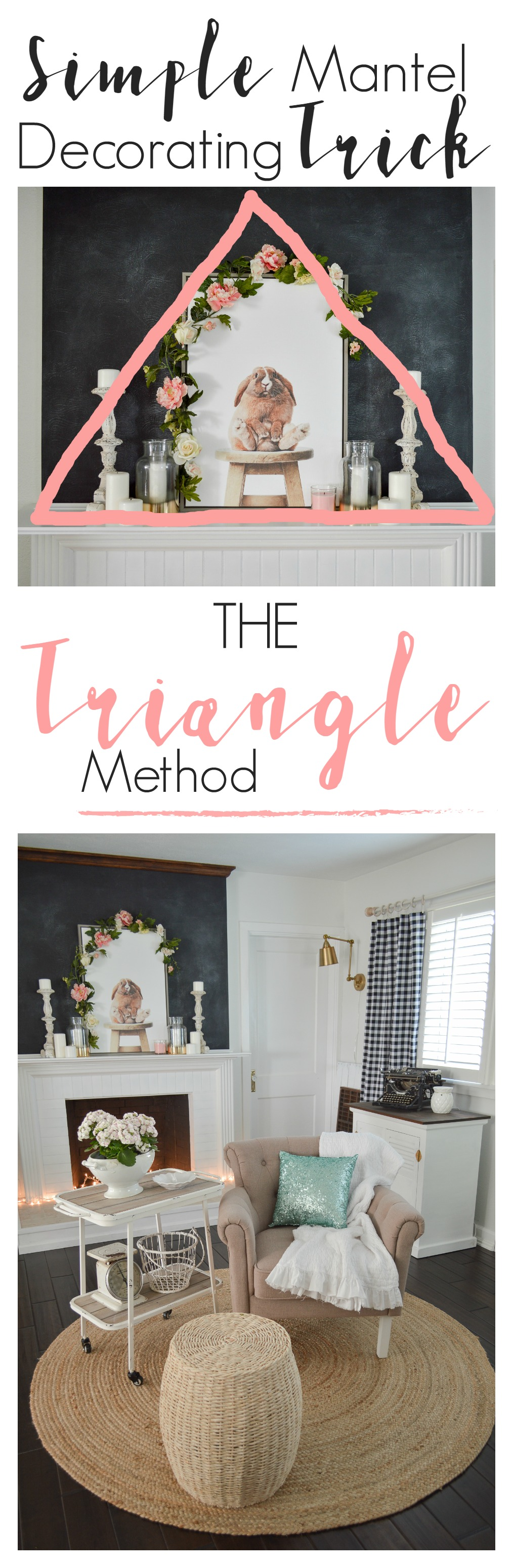 Simple Spring Cottage Entry + Fireplace Mantel. Have trouble getting your decor just right on your mantel? Try making a triangle and decorating your mantel will be simple and easy!