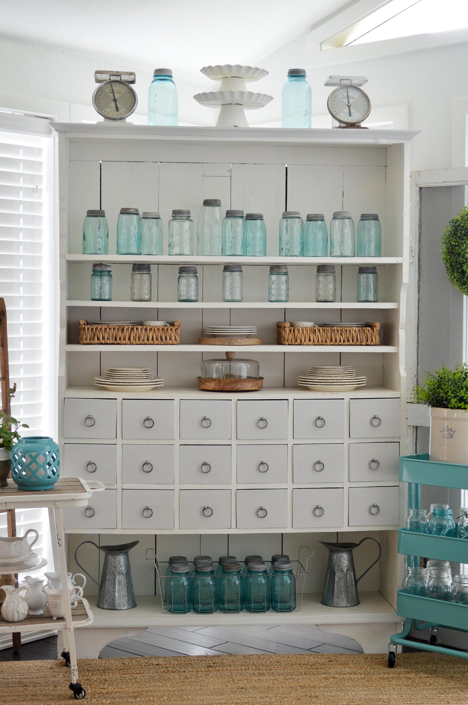 Vintage Mason Jar Collection - Aqua Blue Ball, Boyd, etc at www.foxhollowcottage.com