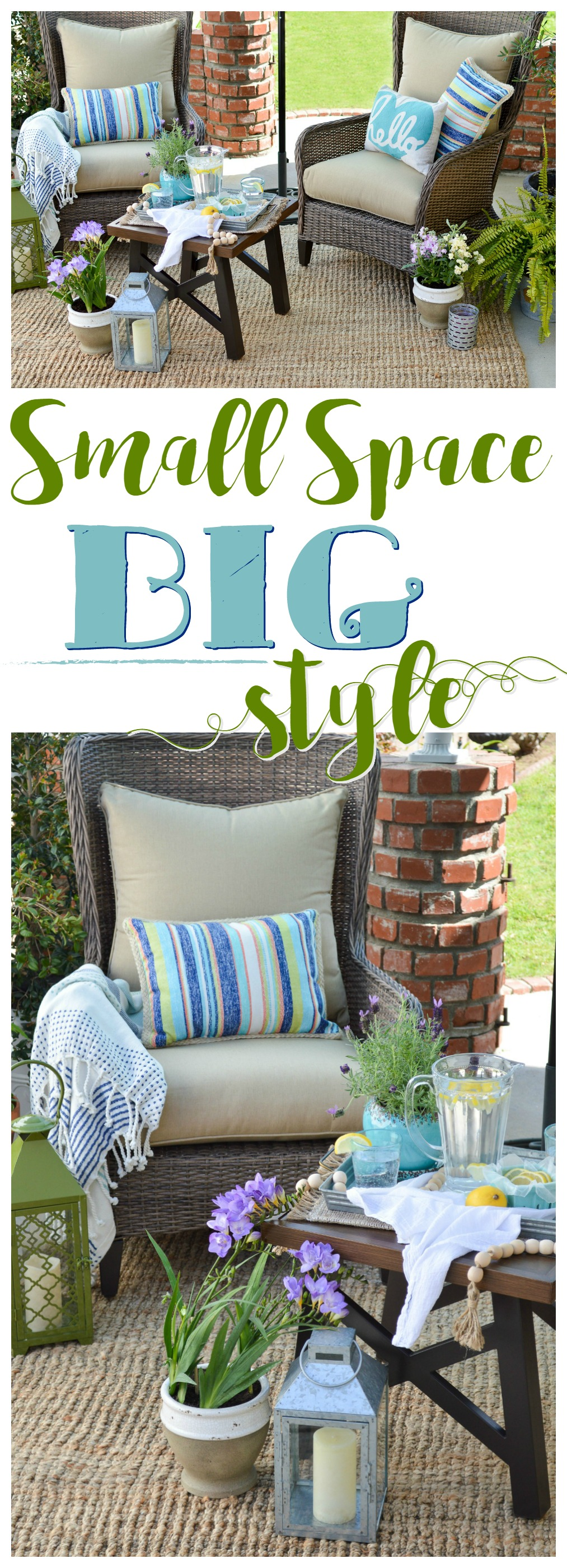 Small Space BIG Style! Affordable, Comfortable, Gorgeous Outdoor Furniture and Decorating with Better Homes & Gardens. See more at www.foxhollowcottage.com #sponsored #BHGatWalmart