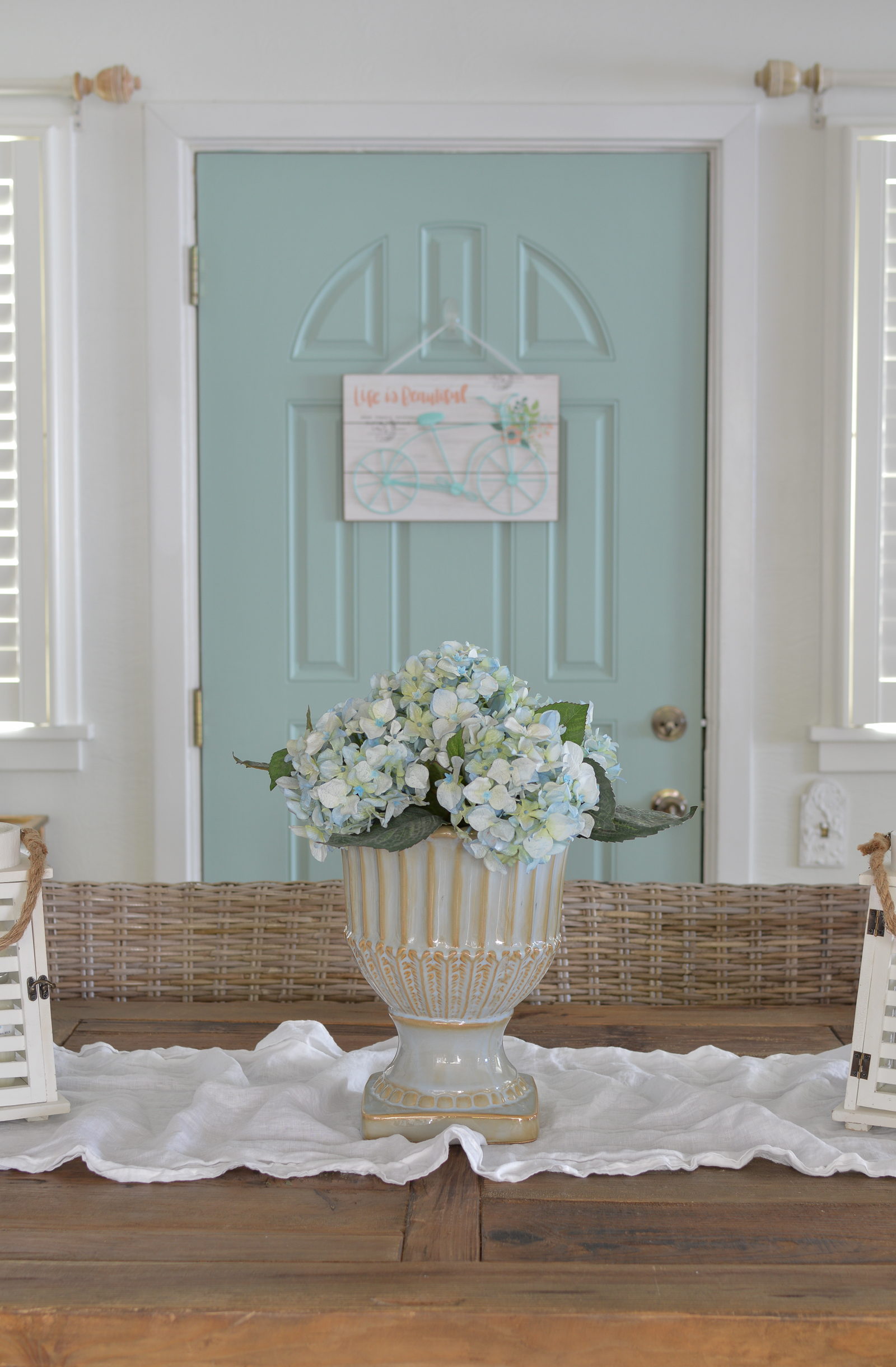 Small house causal cottage farmhouse dining room, farm table, wythe blue door, Hydrangeas | Cottage Dining Room and Catch Up at www.foxhollowcottage.com