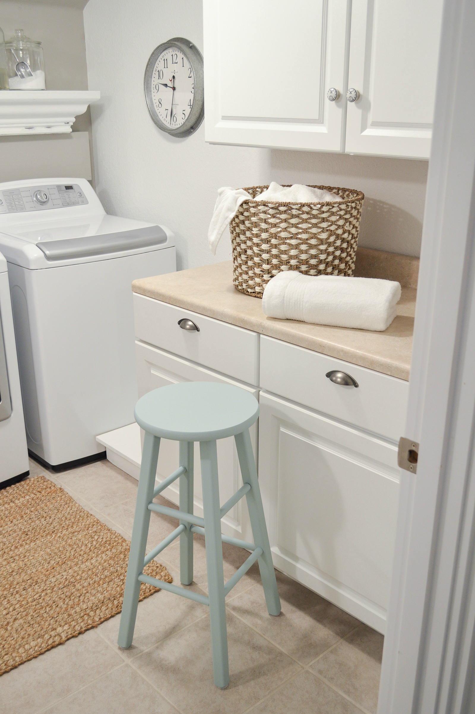Small Space Combination Laundry Room Powder Bathroom Refresh - Simple, Organized Cottage Farmhouse Makeover with affordable pieces from the Better Homes & Gardens line at Walmart #sponsored | Details and sources www.foxhollowcottage.com