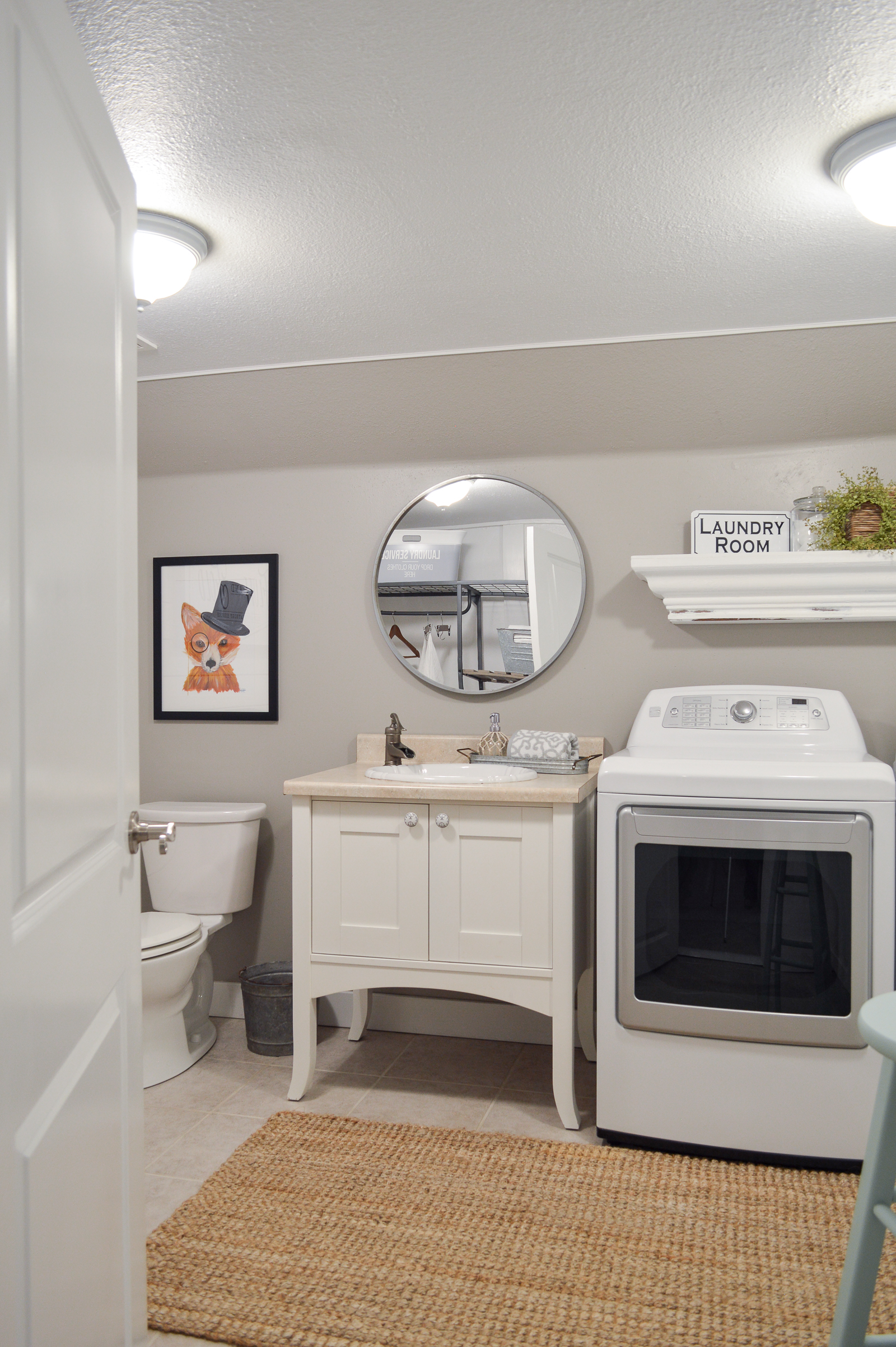 Small Space Combination Laundry Powder Bath Room Refresh - Simple, Organized Cottage Farmhouse Makeover with affordable pieces from the Better Homes & Gardens line at Walmart #sponsored | Details and sources www.foxhollowcottage.com