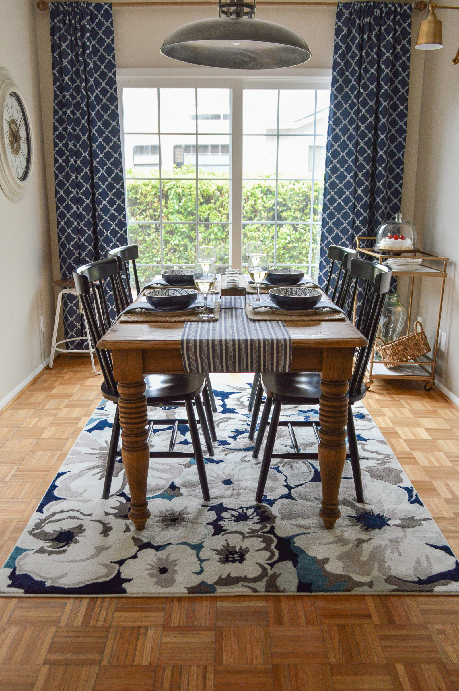 Small Space Dining Room Decorating Ideas, Before & After Makeover with Better Homes & Gardens from Walmart at foxhollowcottage.com #sponsored | Farm table, blue dishes, blue drapes curtains