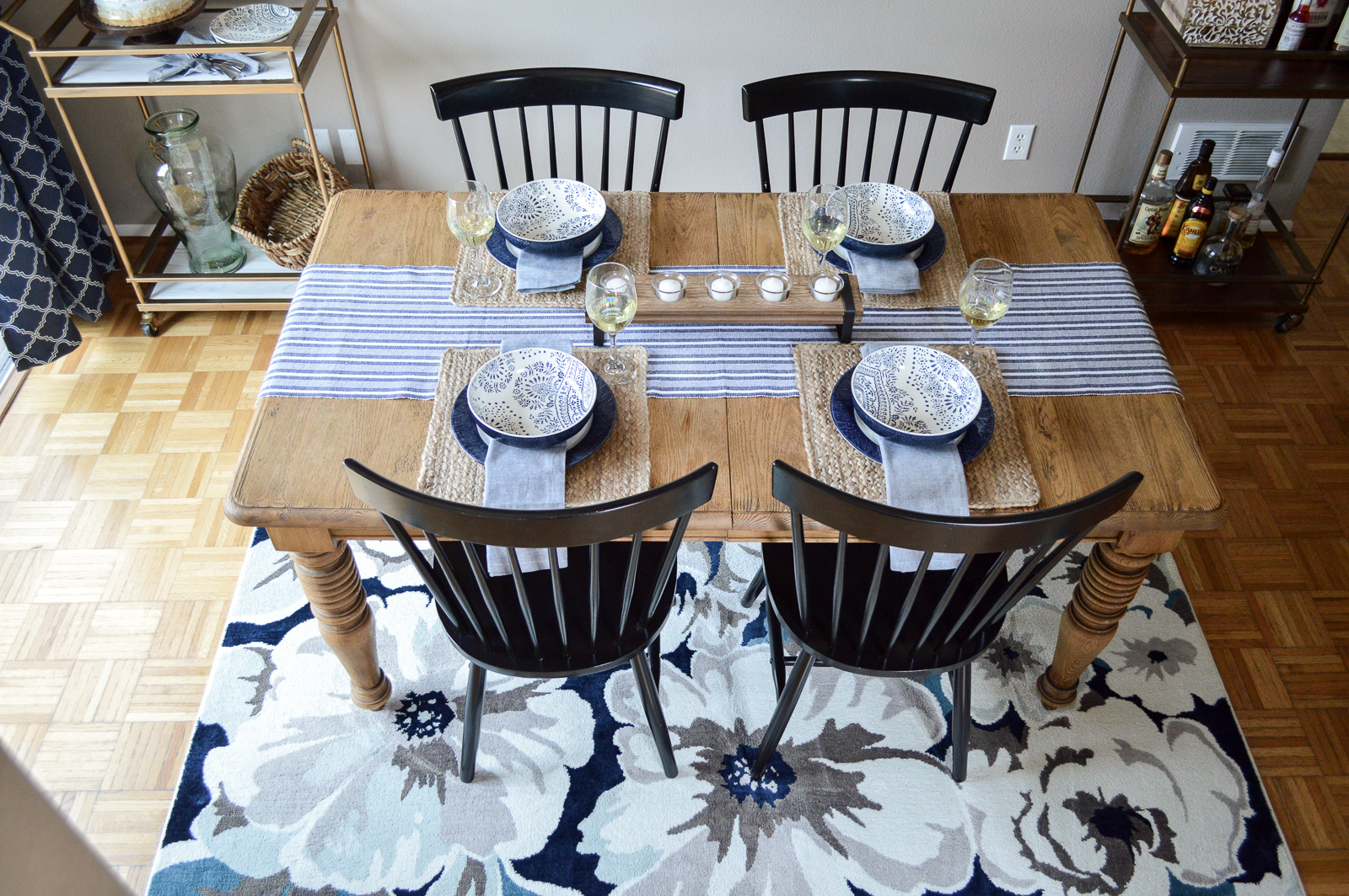 Small Space Dining Room Decorating Ideas, Before & After Makeover with Better Homes & Gardens from Walmart at foxhollowcottage.com #sponsored | blue dishes, farm table, casual dining