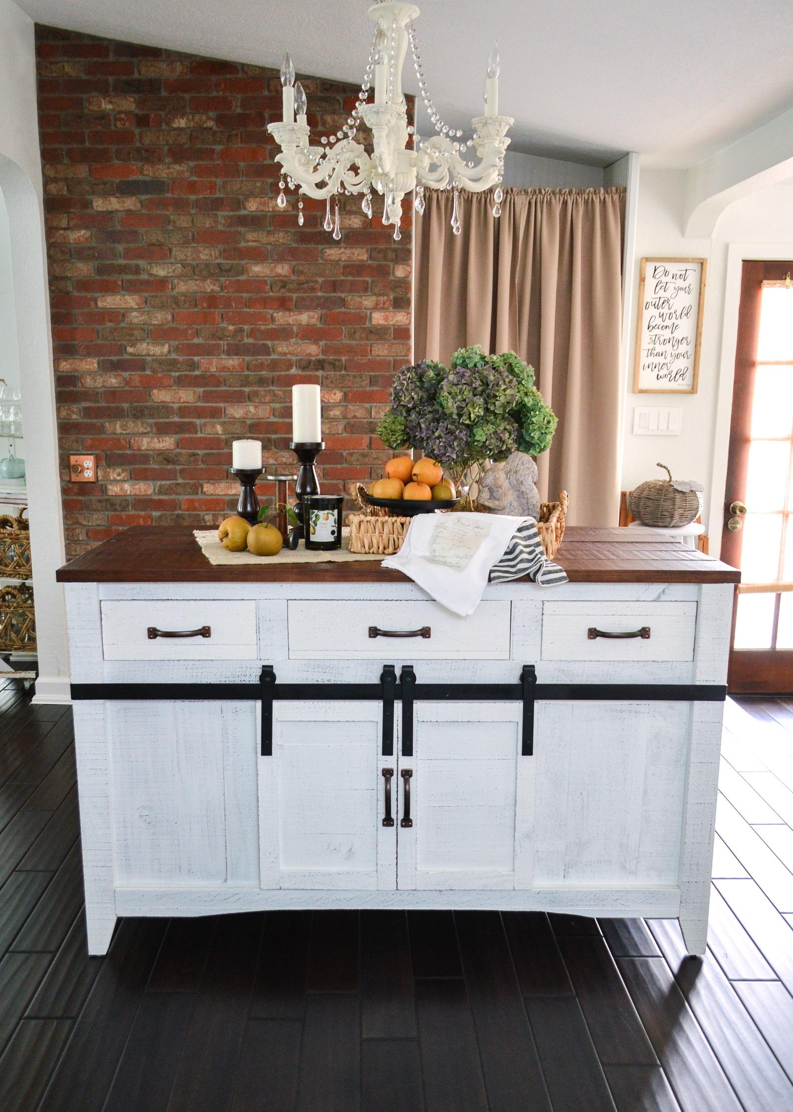 diy brick wall farmhouse kitchen island makeover