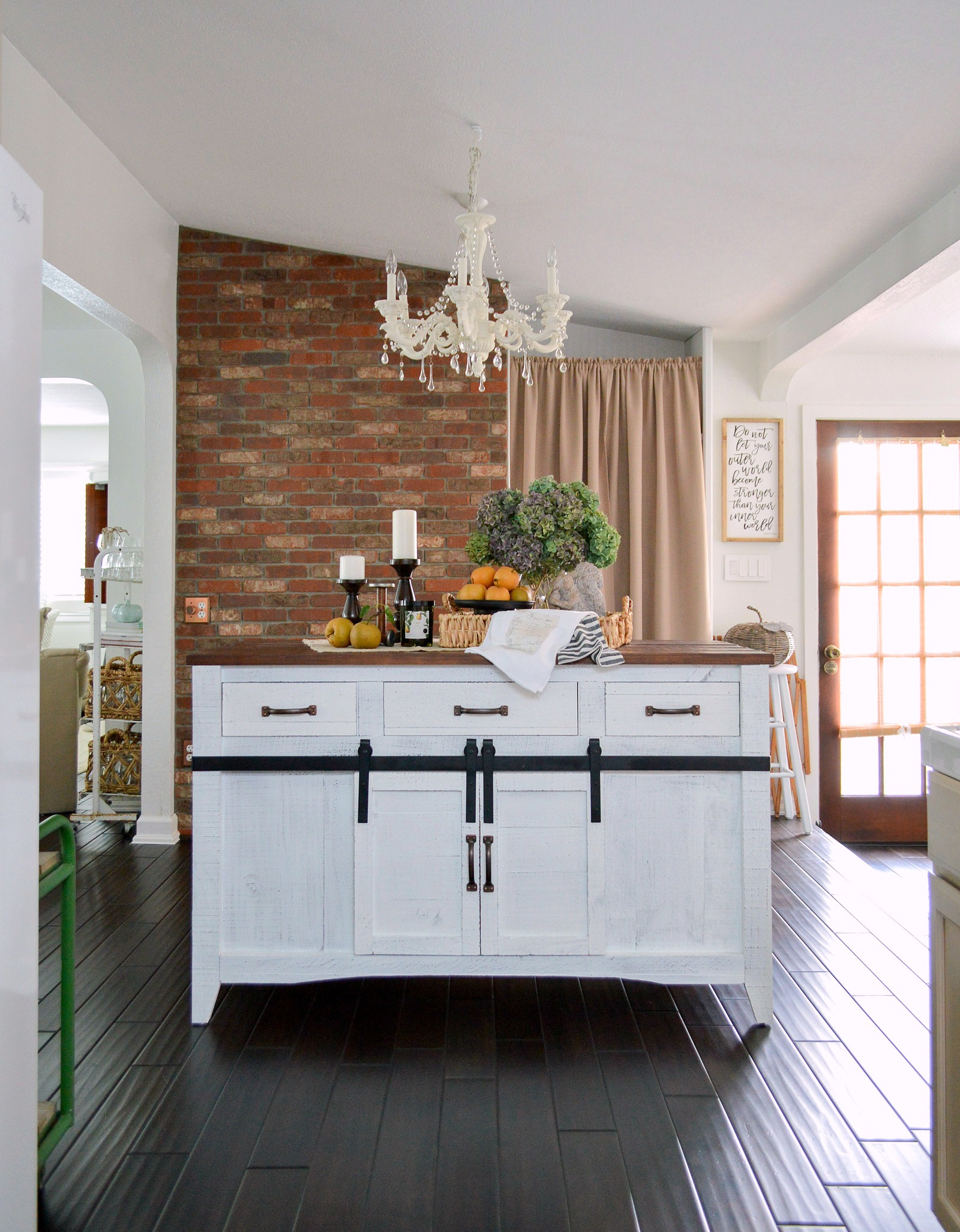 Brick Wall And Farmhouse Kitchen Island Reveal Makeover Part 1