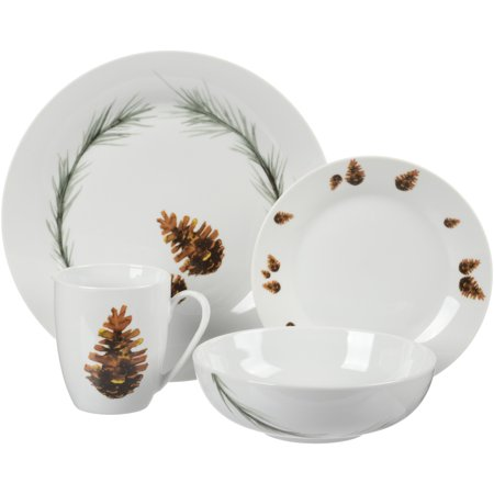 Better Homes & Gardens Nature Collection Pine Cone Dinnerware, Porcelain, Set of 16