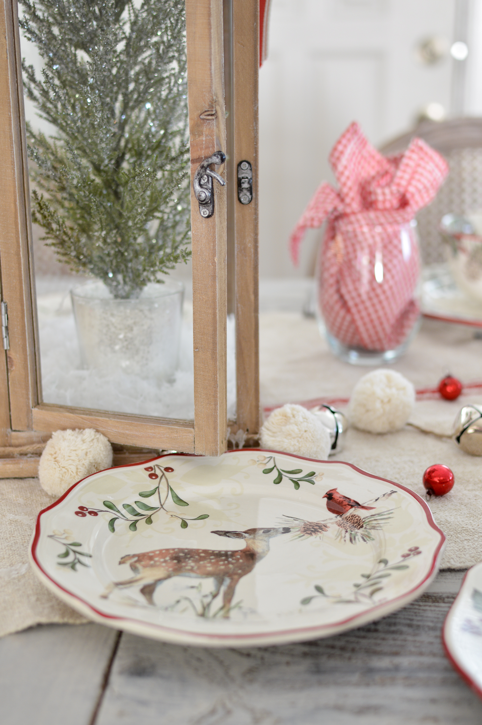 Festive Traditions Christmas Holiday Table and Fireplace Mantel