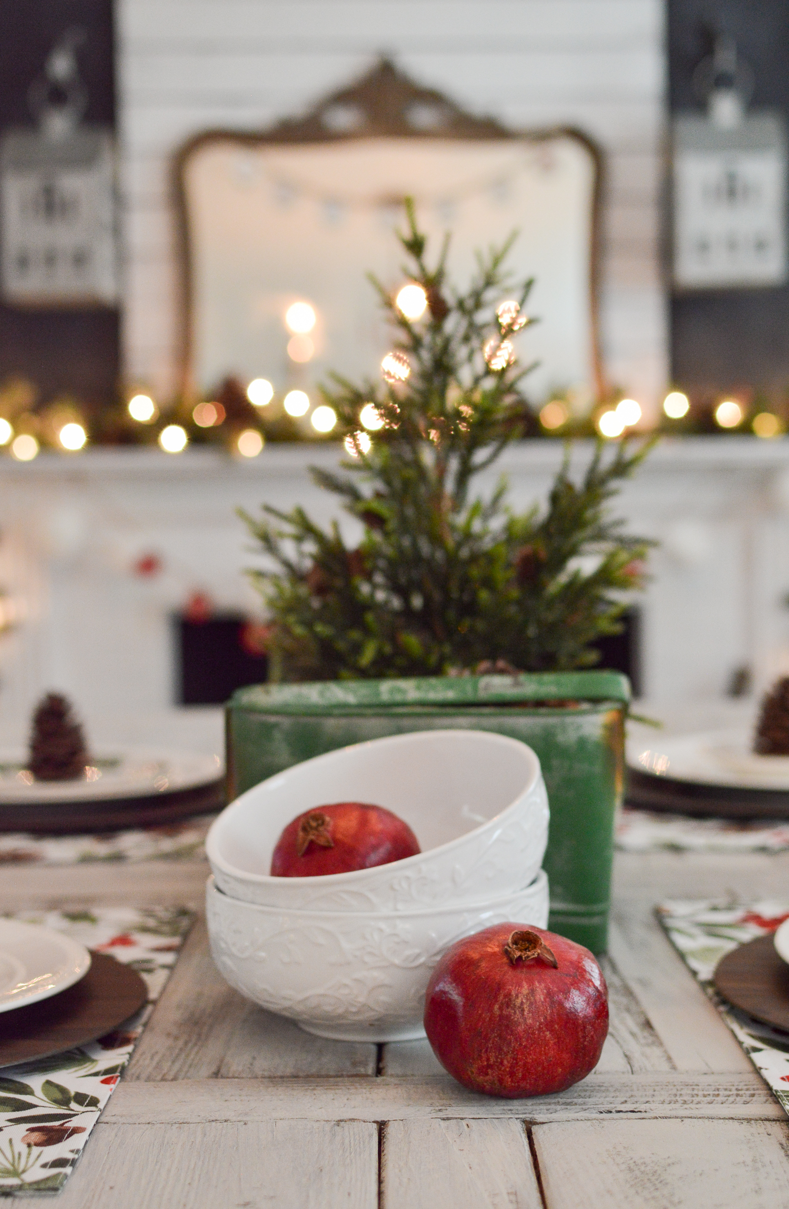 Christmas Holiday Fireplace Mantel & Farm Table Decorating Ideas