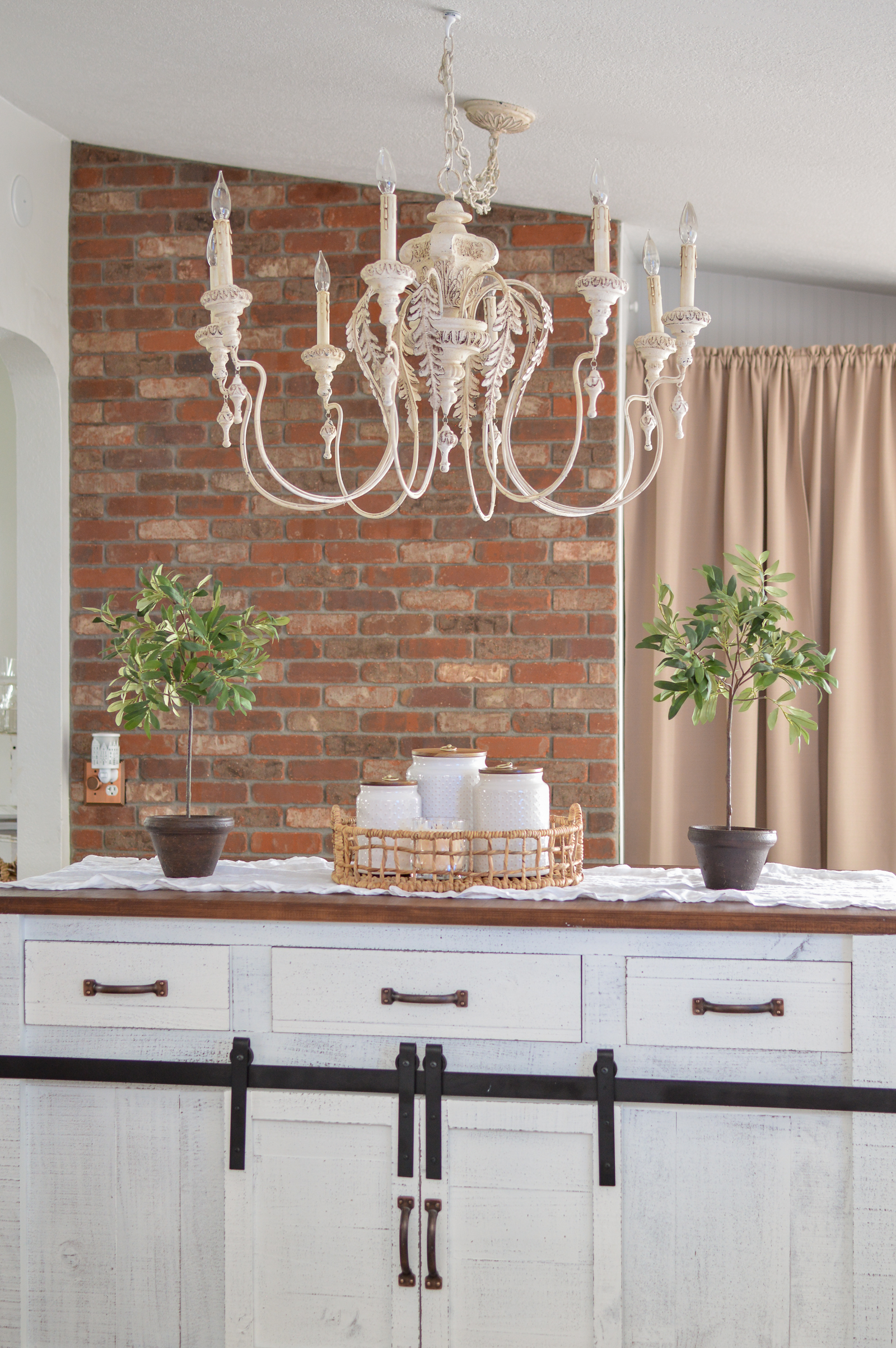 DIY Brick Wall White Cottage Farmhouse Kitchen Refresh Makeover
