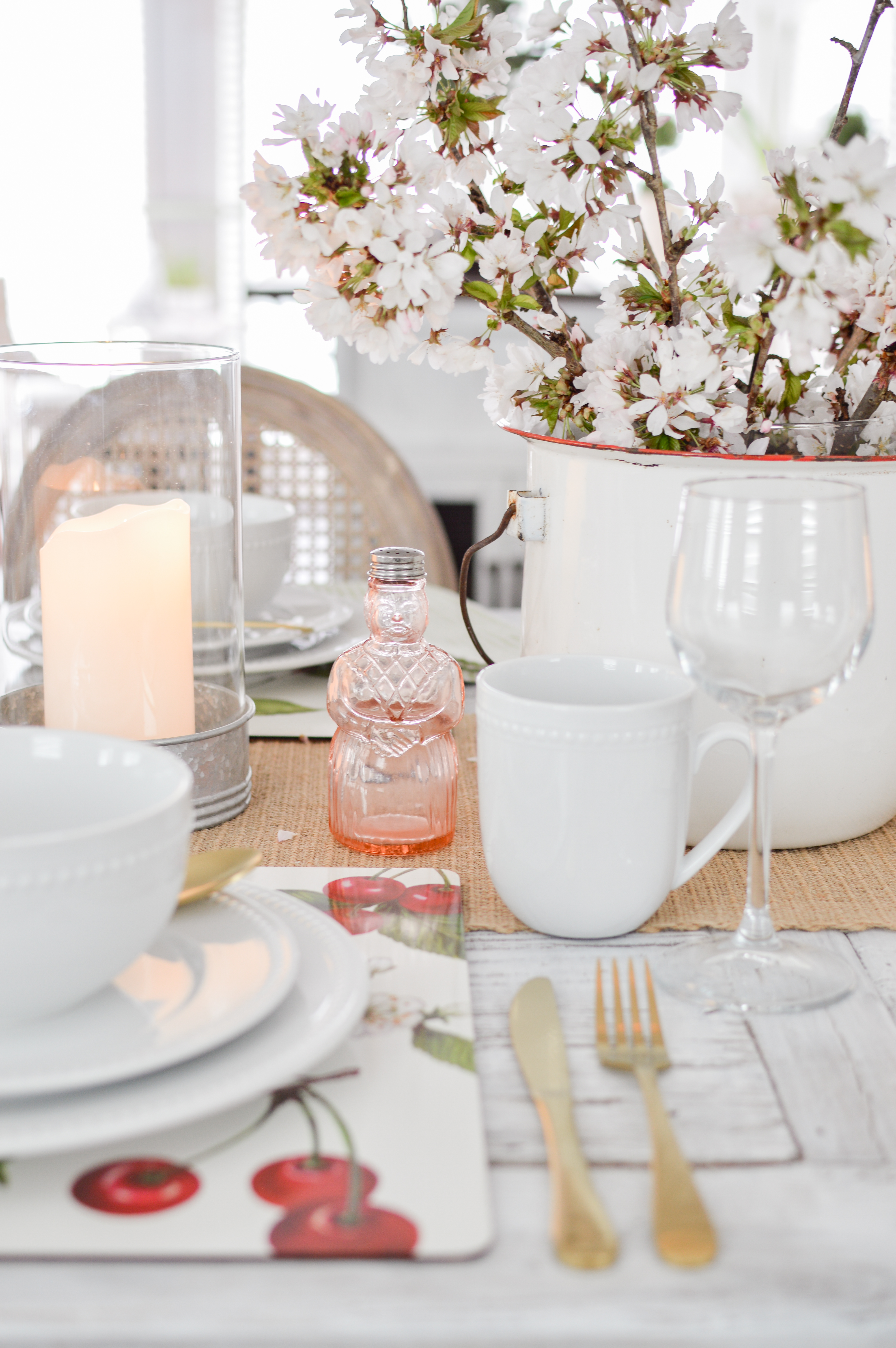 Cottage Farmhouse Farm Table Setting with Cherry Blossoms for Spring