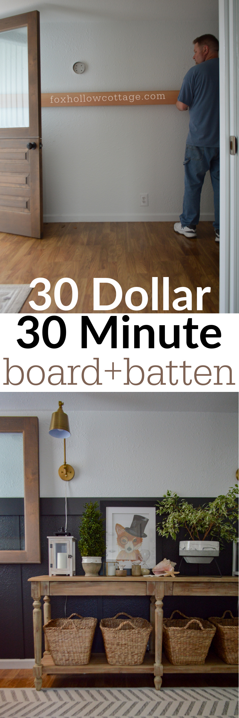 30 dollar 30 minute DIY board and batten wall treatment
