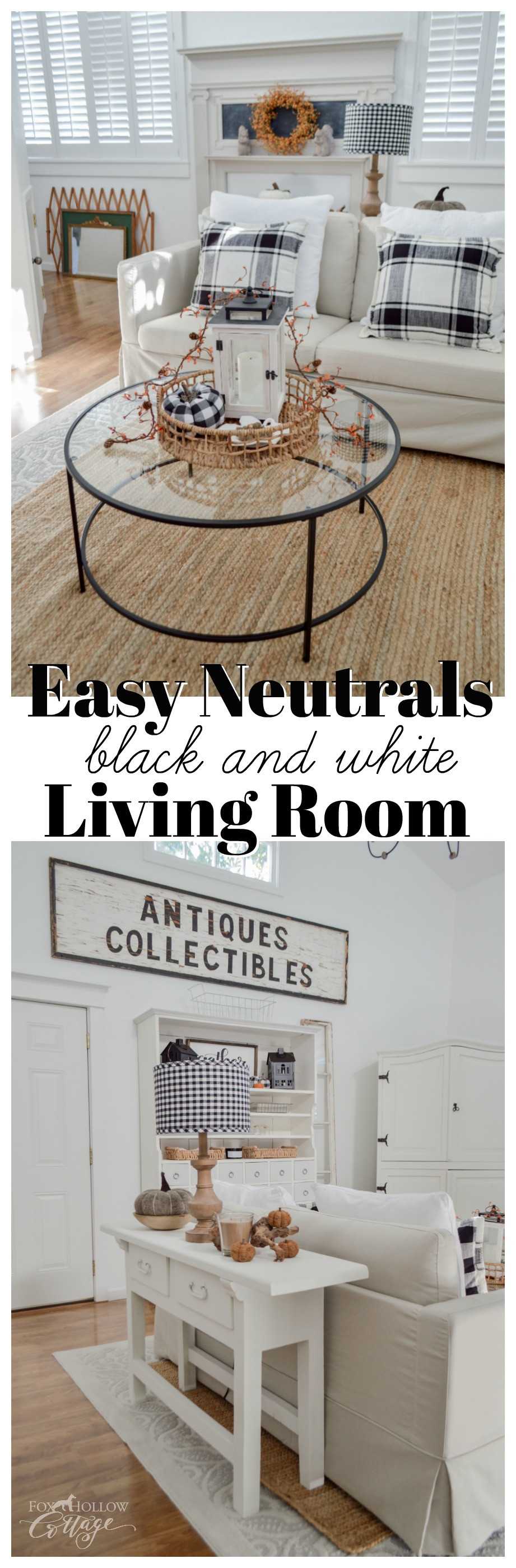 Black, White and Neutral Cozy Fall Home Decorating Ideas -