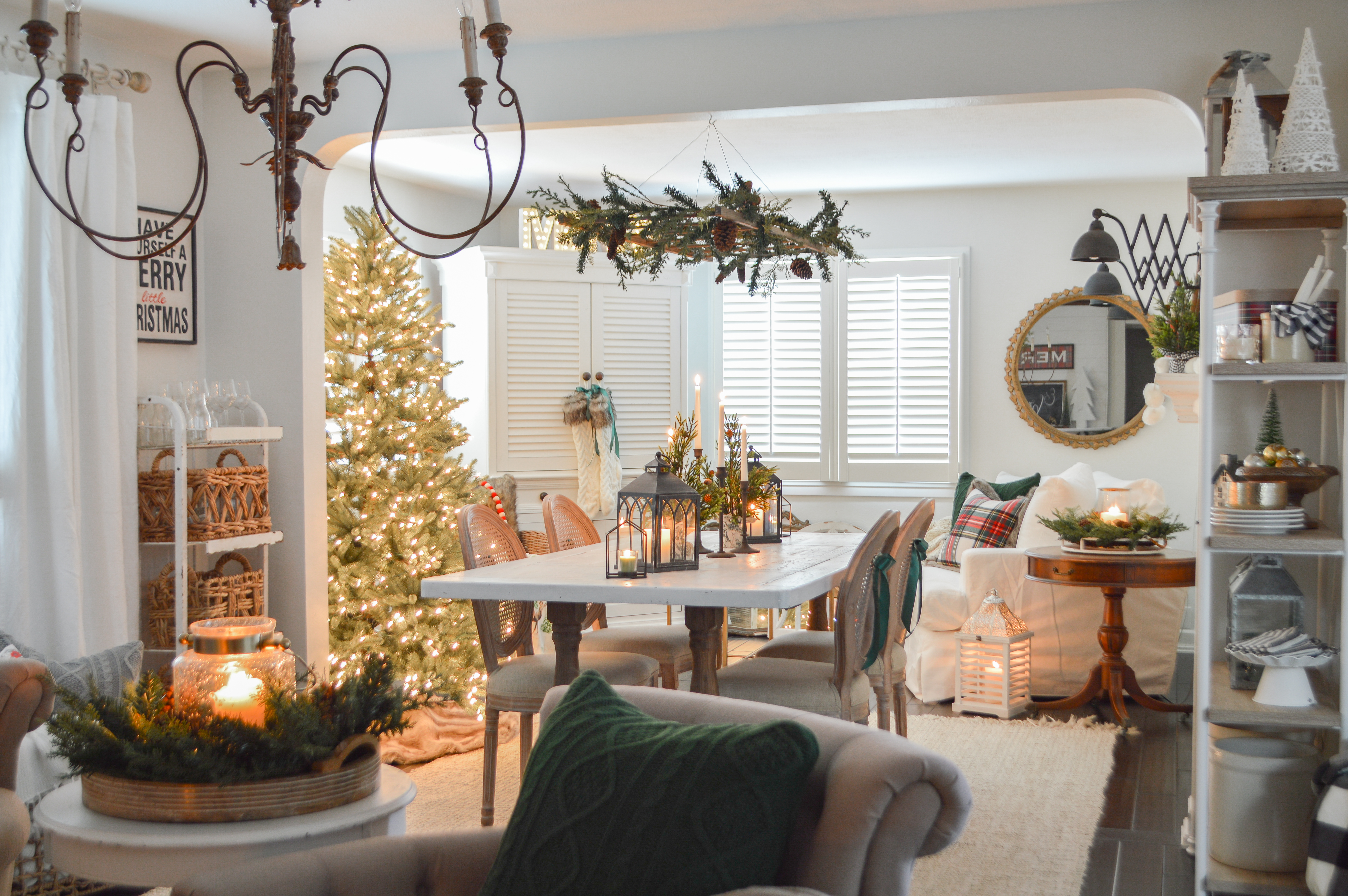 Holiday Housewalk Merry Christmas Home Tour - Cozy Fireplace seating, button tufted accent chairs, bar cart, vintage decor, buffalo check throw. #holidayhousewalk #christmashometour #cozychristmas #cottagechristmas #farmhousechristmas