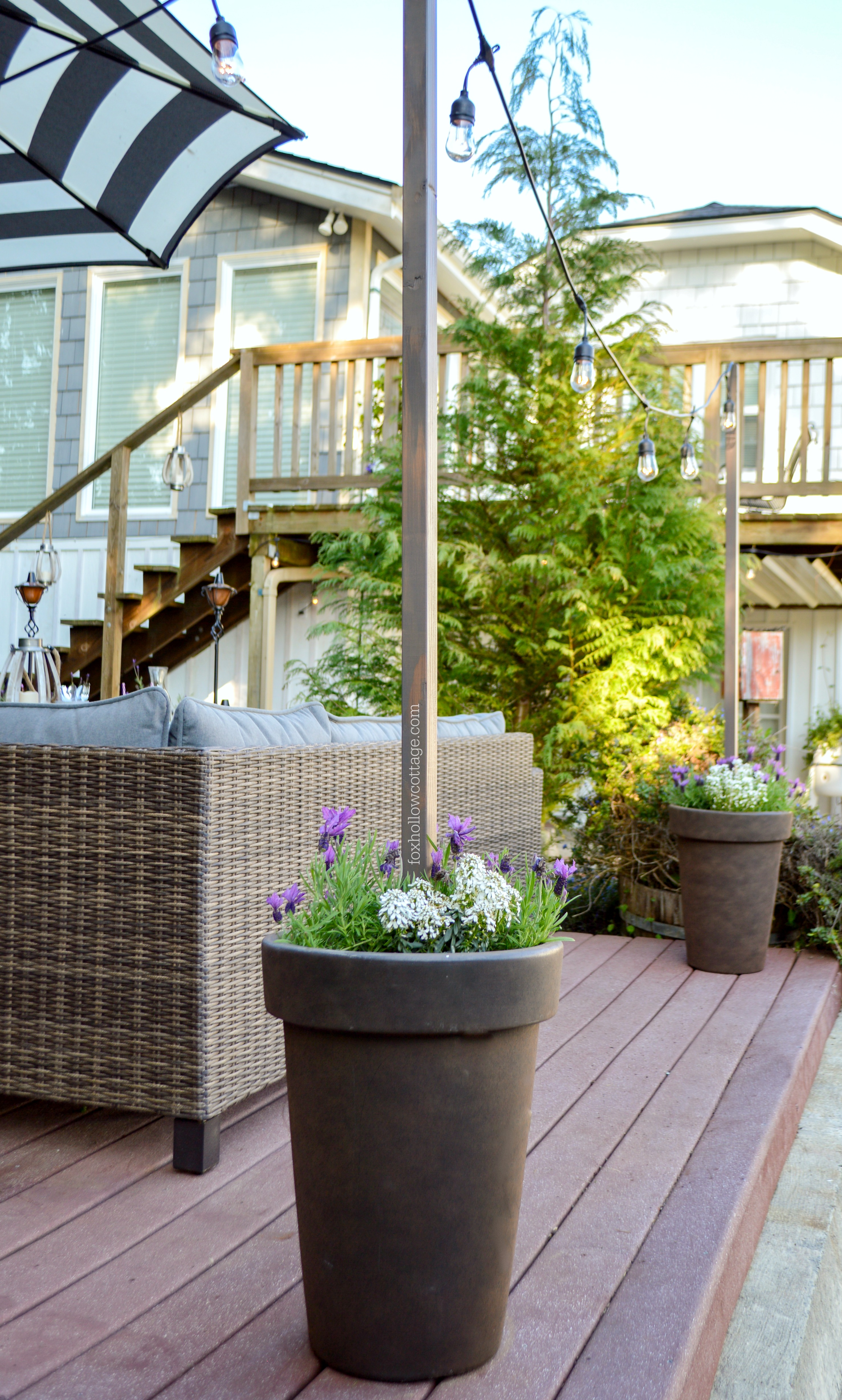 Fox Hollow Cottage Diy Planter Pot Poles For Cafe String Lights